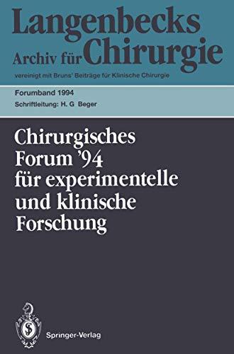 Chirurgisches Forum '94: 111. Kongreß der Deutschen Gesellschaft für Chirurgie München, 5.-9. April 1994 (Deutsche Gesellschaft für Chirurgie / Forumband) (German Edition) -