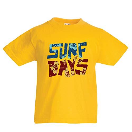 en/Mädchen T-Shirt Sommer-Strand-Surftage, Kleidung für Surfboard-Liebhaber (9-11 Years Gelb Mehrfarben) ()