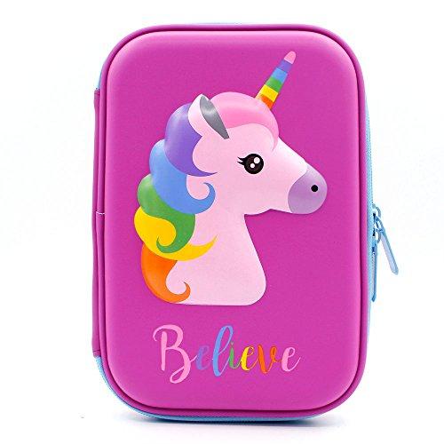 Astuccio con grazioso unicorno in rilievo, con parte superiore rigida, per bambini, grande, per matite, penne e cancelleria, con compartimenti multipli, anche per cosmetici per bambine purple
