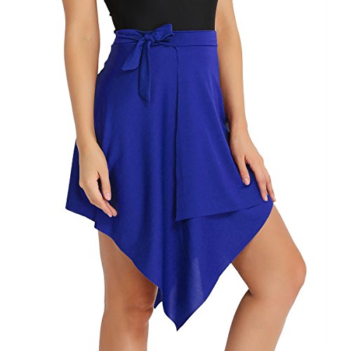 YiZYiF Damen Rock Tango Latin Rock Latein Dancewear Ballett Rock Minirock Tanz-bekleidung in rot, schwarz, rose, blau, lila Blau One Size