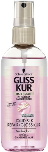 Gliss Kur Hair Repair 2-Phasen Kur, Liquid Silk - 100 ml für sprödes, glanzloses Haar, ohne Ausspühlen