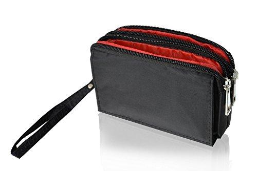 Gütersloher Shopkeeper Zipper Tasche Etui Case schwarz mit 3 Fächern - 2X Reissverschluss 1 x Klettverschluss - geeignet für E-Zigarette, Dampfer und Zubehör - Gürteltasche.Handgelenktasche Outdoor