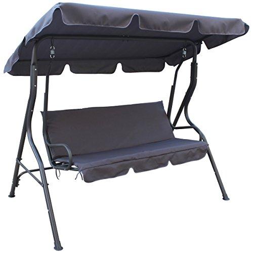 Promobo Hollywoodschaukel, Drei-Sitzer, luxuriöses Design, schwarz 179x112x155cm