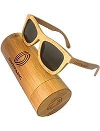 765db789b6 DINOMADic | Unisexo Bambú Gafas de Sol Polarizadas en Caja de Madera  Redondeada (Lonwood)