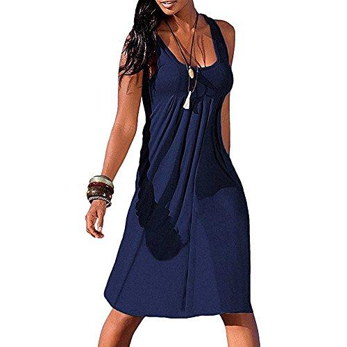 Aoogo Elegante Einfachheit Frauen-Sommer-Reizvolles Festes Sleeveless Einfaches Gefaltetes Beiläufiges Minikleid Strandrock Partykleid TäGliche Kleidung Weste (Safari Kostüm Einfach)