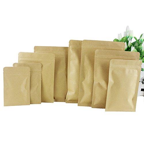 50 pcs (5.5mil) Kraft Fond plat Sac hermétique -- Fermeture Éclair Pochettes Sac d'emballage en feuille d'aluminium Sac à café Pochettes pour thé Écrou et Candy Fruits séchés (6 × 8 cm)