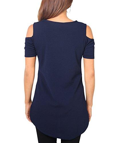 KRISP Donna Signorina Casual Top con Tagli Spalla Morbido T shirt Vestito Blu scuro
