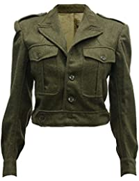 Original Genuine French British Army Vintage WW2 Military Wool Cropped Jacket Olive