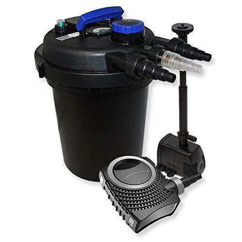 WilTec Kit de Filtration Bassin à Pression 10000l Stérilisateur UVC 11W 70W Pompe éco Fontaine