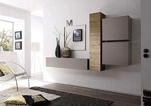 Sodani parete attrezzata mobili salotto 4 mobili sospesi 169x244x31cm cube grigio opaco e miele