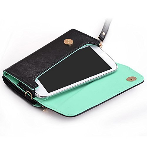 Kroo d'embrayage portefeuille avec dragonne et sangle bandoulière pour Alcatel OneTouch Idol Mini Black and Orange Black and Green