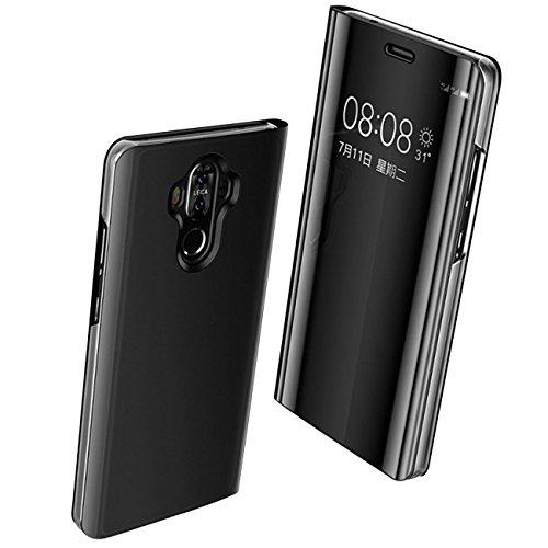 Huawei Mate 9 Hülle, Mate 9 Handyhülle PU Leder Tasche Flip Case Cover dünne Premium Schutzhülle Schlanke mit Kartenfach Standfunktion für Huawei P10 Huawei P10 Plus (Black, Huawei Mate 9)