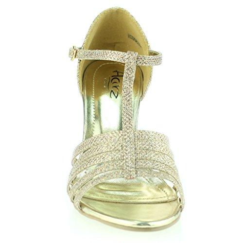 Aberto Tamanho T À Senhoras De Champagne Dedo Baile Sapatos Meio Casamento Noite Sandália Calcanhar bar Mulheres Festa HEwzgqfq