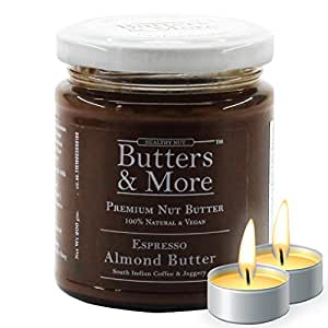 Butters & More Espresso Almond Butter with South Indian Coffee & Jaggery (200G) Natural & Vegan Pre-Workout. with a Surprise Diwali Gift!