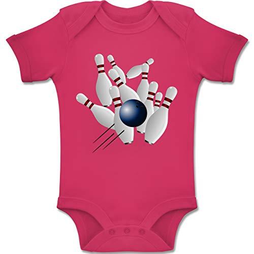 Sport Baby - Bowling Strike Pins Ball - 1-3 Monate - Fuchsia - BZ10 - Baby Body Kurzarm Jungen Mädchen