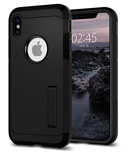 Funda iPhone X, Spigen® [Tough Armor] Kickstand y extrema protección de servicio pesado y tecnología de cojín de aire para iPhone X (2017) [Negro Mate]