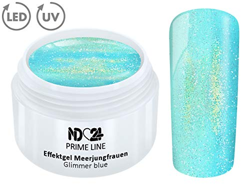 5ML - PRIME LINE - UV LED Gel MERMAID GLIMMER Effekt BLUE Farb Color Nagel Glitter Art Blau Studio Qualität - MADE IN GERMANY -