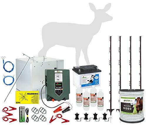 Eider 100 Meter Elektrozaun zum Schutz vor Rehen und Rotwild - komplett aufstellfertig mit Allen notwendigen Komponenten