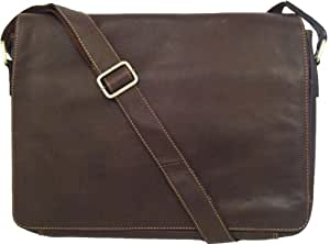 "Unicorn Real Leather Brown 16.4"" laptop bag Messenger #2L"