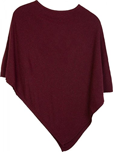 styleBREAKER weicher Feinstrick Poncho in Unifarben, Rundhals, Damen 08010042, Farbe:Bordeaux-Rot