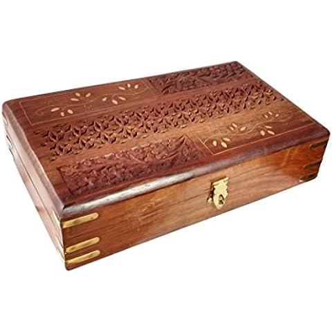 Tallado en madera - embutido de la caja de la vendimia, 10 X 6 caja, caja de almacenaje, caja de la vendimia,Acción de Gracias y de la Navidad