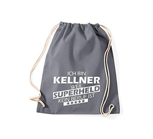 shirtstown BORSA PALESTRA Ich bin Kellner, WEIL supereroe NESSUN occupazione è - grigio, 37 cm x 46 cm grigio
