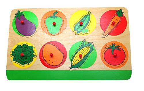 edu fun 10005 Steckpuzzle Holzpuzzle Gemüse Aubergine Paprika Erbsen Salat Kartoffel Mais Tomate Karotte Puzzle Setz-Puzzle Kinder 100% FSC (Kartoffel-salat Mit)