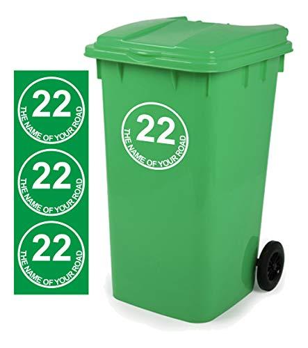 *Mülltonnen-Aufkleber D4, personalisierbar mit Adresse, 18x18cm, 3 Stück*