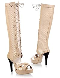QXH Damen Sandalen Stiefel Runden Kopf, Flache Schnürsenkel groß, Golden, 36