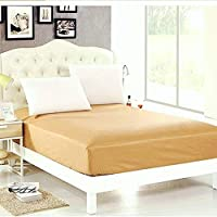 "Comfortbliss World Class Waterproof Terry Cotton Mattress Protector - (78"" X 48""), Double Bed, Beige"