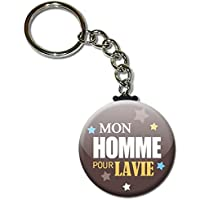 Mon HOMME pour LA VIE Porte clés chaînette 38mm ( Idée Cadeau Mari Chéri Homme Saint Valentin Noël Anniversaire )