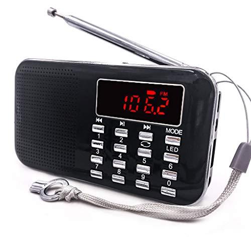 iMinker tragbare Mini-Digital-AM / FM-Radio-Mittel-Lautsprecher-MP3-Player-Unterstützungs-TF-Karte / USB-Anschluss mit LED-Screen-Display, Notfall-Taschenlampe, 3,5-mm-Kopfhörerbuchse (Schwarz) Pocket-video-sender