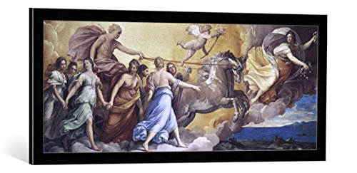 """Quadro con cornice: Guido Reni """"Aurora"""" - stampa artistica decorativa, cornice di alta qualità, 100x40 cm, nero / angolo grigio"""