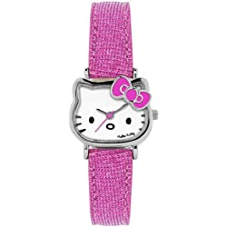 Hello Kitty Children's Quartz Watch with White Dial Analogue Display and Pink PU Strap HK004