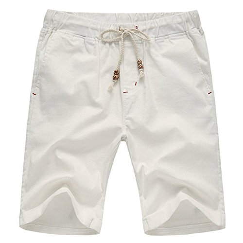AIYINO Herren Drawstring Casual Beach Shorts Training Kurze Hose Kordelzug Weiß