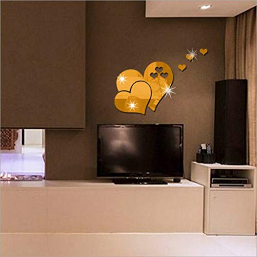Mitlfuny-> Haus & Garten -> Wohnkultur,3D Spiegel Wandaufkleber Herzförmige Kunst Aufkleber Abnehmbare Wohnzimmer Wohnkultur