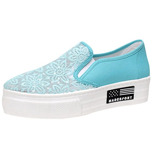Oasap Women's Lace Slip-on Flat Platform Sneakers Blue