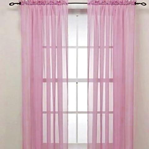 QHGstore Nuovo colore solido Voile Sheer tenda della finestra Pannello di Tende di 100 * 200cm, contiene solo lo screening finestre senza tende Rosa