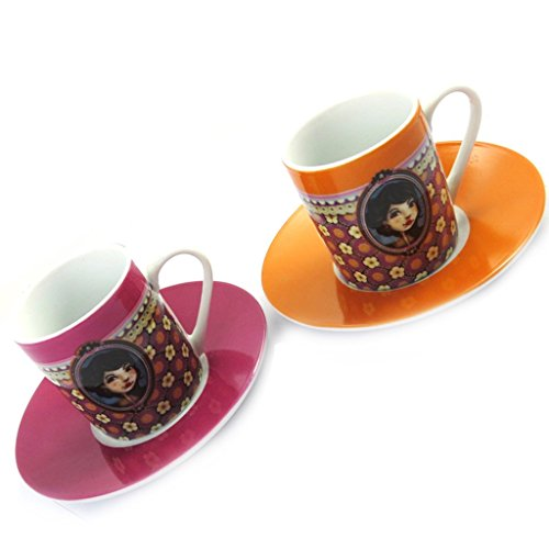 Lili Petrol M6363 - Set 2 becher 'Belle Epoque' rosa orange.