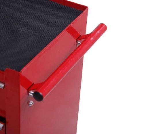 Homcom® Fahrbarer Werkstattwagen Werkzeugwagen Rollwagen Werkzeugkasten mit 5 Schubladen rot - 7