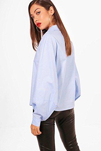 Bleu Femmes Chemise en coton à manches ballon Isla Bleu