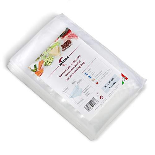 Wimex 100 Vakuumbeutel 20x30cm (30mt) | BPA Free | Sous Vide geeignet | stabile Schweißnaht | Für alle Balken Vakuumierer geeignet | Vakuumrollen | Made in Italy (20x30)