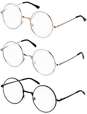 eBoot Metall Frame Runde Brille Retro Metall Klare Linse Brille, Unisex, Schwarz, Golden, Silbern Farbe, 3 Paar