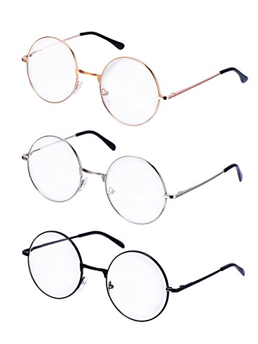 Montature Occhiali da Vista in Metallo Tondo Occhiali Retrò Metallo Lente Trasparente, Unisex, Colore Nero, Oro, Argento, 3 Paia