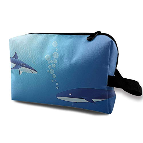 Great White Sharks in Deep Sea Small Travel Toiletry Bag Super Light Toiletry Organizer for Overnight Trip Bag