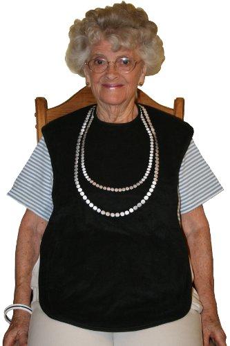 Frenchie Mini Couture Lätzchen, wasserdicht, für Herren Damen, Schwarz, mit weißer Perle