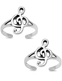 Silvernshine Women's 14K White Gold Fn .925 Sterling Silver Treble Clef Adjustable Toe Ring Set