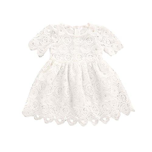 Outfits Sets Kind Janly 0-24 Monate Mädchen Lace Floral Dress Kleinkind Infant Weiß Kurzarm Prinzessin Kleider (18-24 Months, Weiß) (18 Monat-mädchen-kleider)