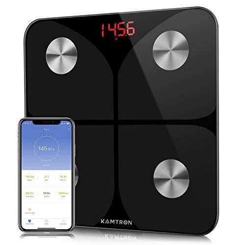 Körperfettwaage Digitale Personenwaage Waage Wireless BT mit APP - Ultraschlanke Körperwaage mit Hochpräzisions-Sensoren und gehärtetem Glas für Körperfett,BMI,Gewicht,Muskelmasse, Wasser,Protein,BM