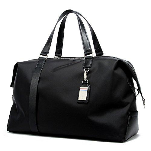 BOPAI Umhängetasche Unisex Handtasche Schultertasche Reisetasche Wasserdicht Handgepäck Bordgepäck Reisegepäck Leder und Nylon Schwarz Groß (Leder Top Zip Large Tote)